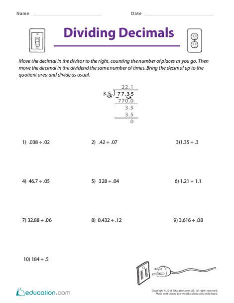 Fifth Grade Math Worksheets: Dividing Decimals
