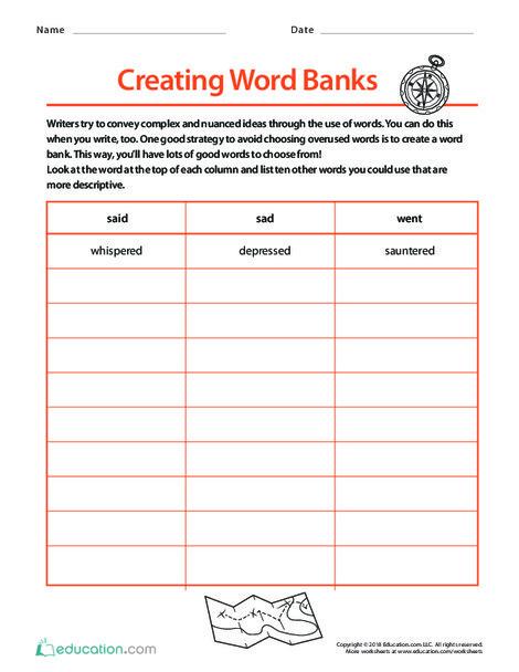 Fifth Grade Reading & Writing Worksheets: Creating Word Banks