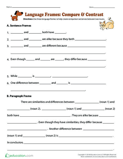 Fourth Grade Reading & Writing Worksheets: Language Frames: Compare & Contrast