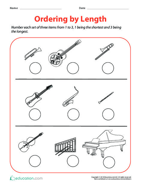 Second Grade Math Worksheets: Ordering by Length