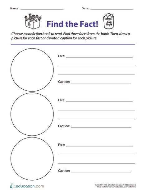 Second Grade Reading & Writing Worksheets: Find the Fact!
