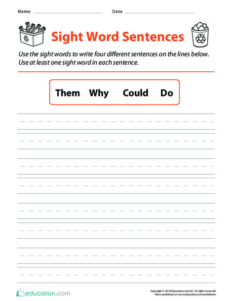 Second Grade Reading & Writing Worksheets: Sight Word Sentences