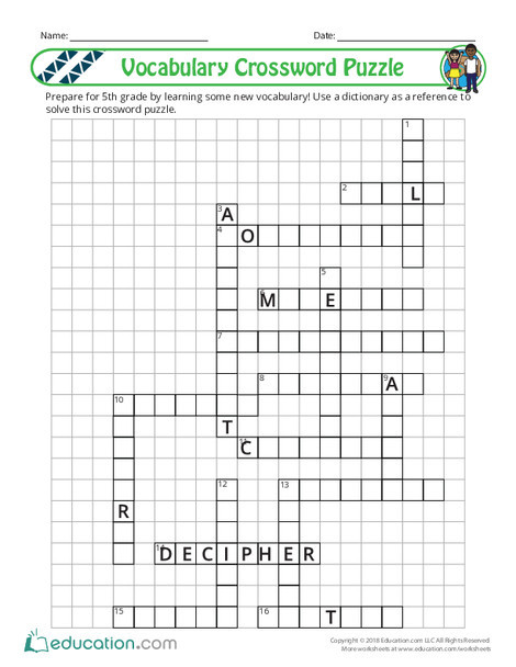 Fourth Grade Reading & Writing Worksheets: 5th Grade Vocabulary Crossword Puzzle