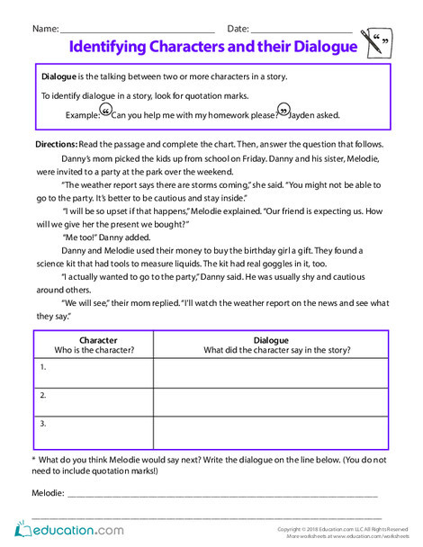Third Grade Reading & Writing Worksheets: Identifying Characters and their Dialogue
