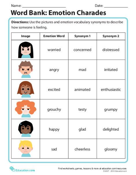 Second Grade Reading & Writing Worksheets: Word Bank: Emotion Charades