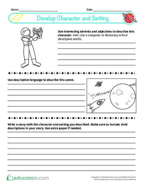 Fourth Grade Reading & Writing Worksheets: Develop Character and Setting