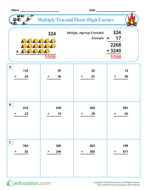 Fourth Grade Math Worksheets: Multiply Two and Three-Digit Factors