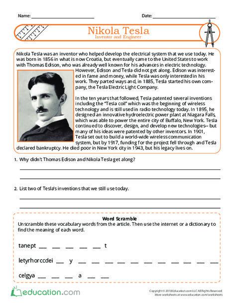 Fourth Grade Reading & Writing Worksheets: Nikola Tesla: Inventor and Engineer