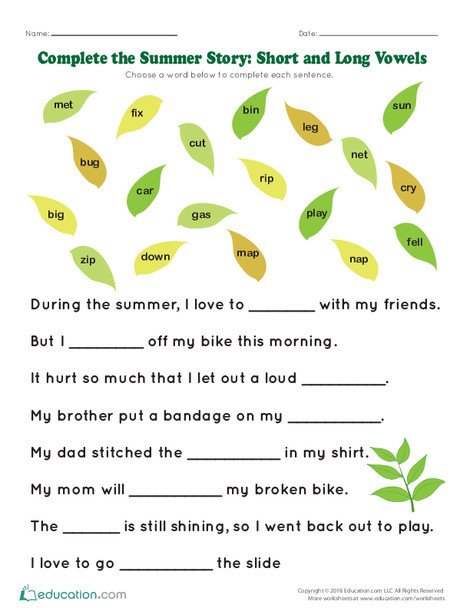 Kindergarten Reading & Writing Worksheets: Complete the Summer Story: Common Sight Words