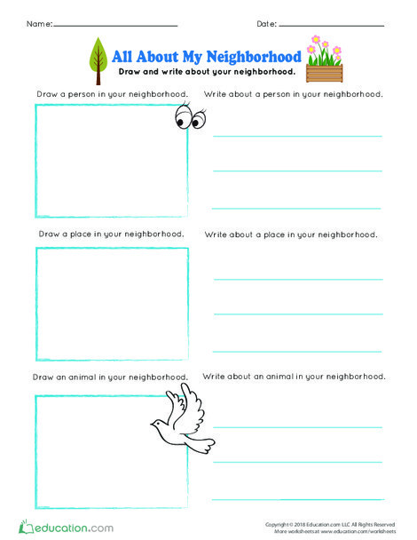 Kindergarten Reading & Writing Worksheets: All About My Neighborhood
