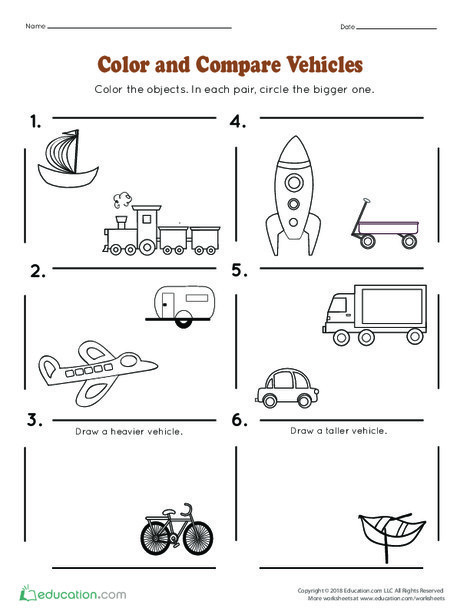 Kindergarten Math Worksheets: Color and Compare Vehicles
