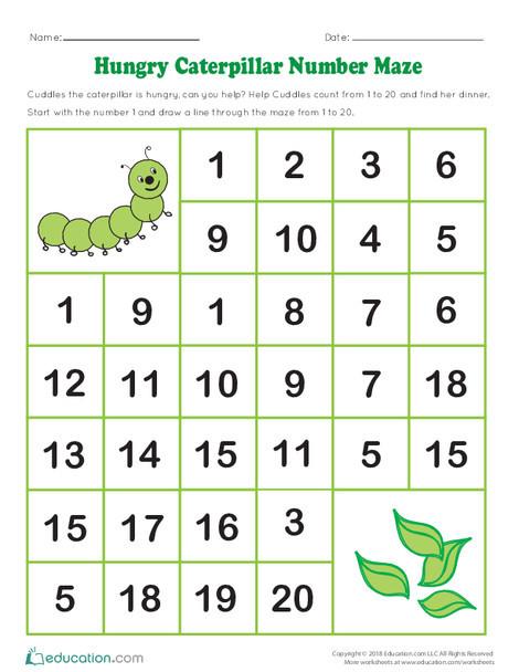 Kindergarten Math Worksheets: Hungry Caterpillar Number Maze