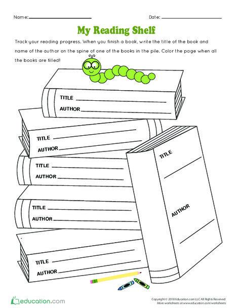 Kindergarten Reading & Writing Worksheets: My Reading Shelf