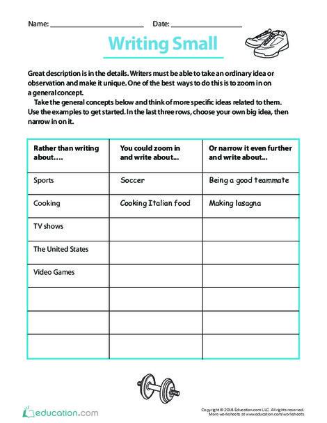 Fifth Grade Reading & Writing Worksheets: Writing Small