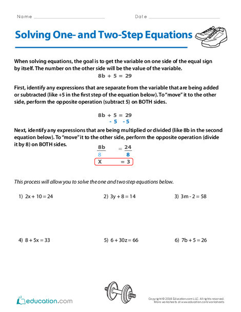 Fifth Grade Math Worksheets: Solving One- and Two-Step Equations