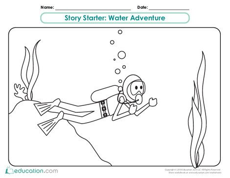 Third Grade Reading & Writing Worksheets: Story Starter: Water Adventure