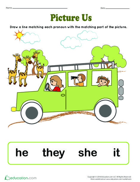 Preschool Reading & Writing Worksheets: Picture Us