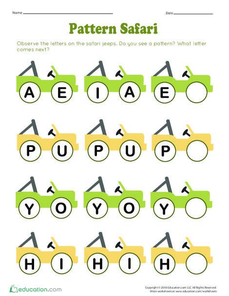 Preschool Math Worksheets: Pattern Safari