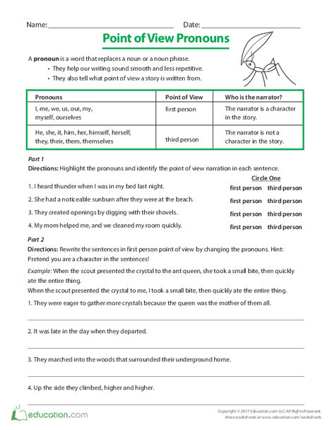 Third Grade Reading & Writing Worksheets: Point of View Pronouns