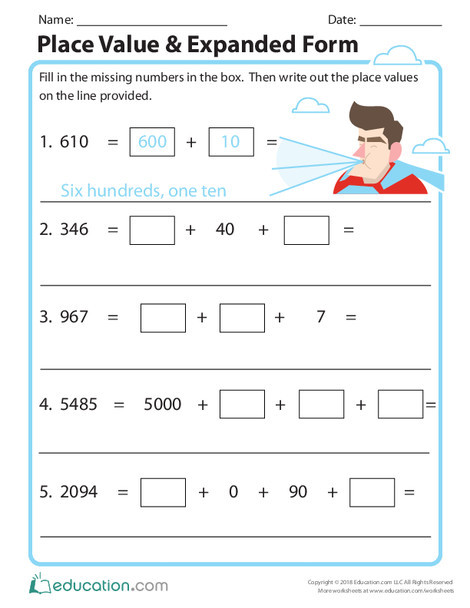 Third Grade Math Worksheets: Place Value & Expanded Form