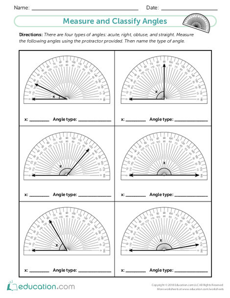 Fourth Grade Math Worksheets: Measure and Classify Angles