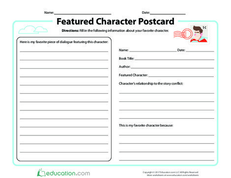 Third Grade Reading & Writing Worksheets: Featured Character Postcard