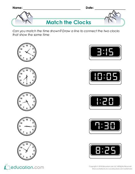 Second Grade Math Worksheets: Match the Clocks