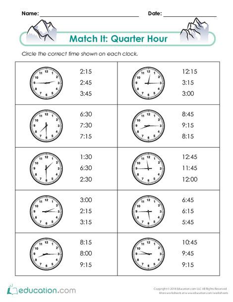 Second Grade Math Worksheets: Match It: Quarter Hour