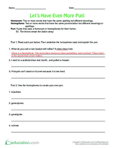Fourth Grade Reading & Writing Worksheets: Let's Have Even More Pun!