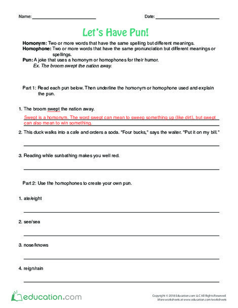 Fourth Grade Reading & Writing Worksheets: Let's Have Pun!
