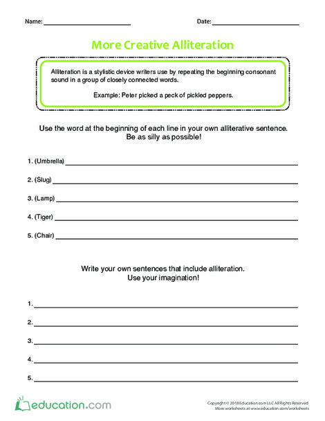 Fifth Grade Reading & Writing Worksheets: More Creative Alliteration