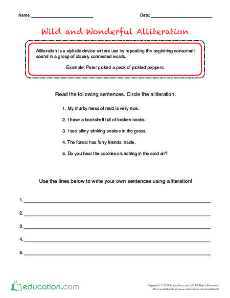 Fifth Grade Reading & Writing Worksheets: Wild and Wonderful Alliteration