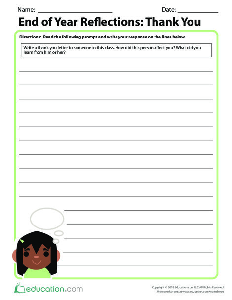 Third Grade Reading & Writing Worksheets: End of Year Reflections: Thank You