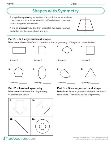 Third Grade Math Worksheets: Shapes with Symmetry