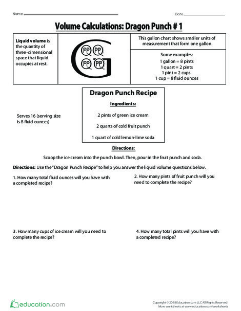 Fourth Grade Math Worksheets: Volume Calculations: Dragon Punch #1