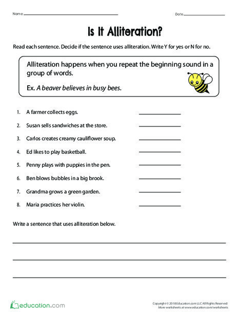 Fourth Grade Reading & Writing Worksheets: Is It Alliteration?