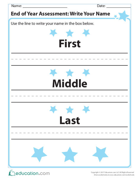 Kindergarten Reading & Writing Worksheets: End of Year Assessment: Write Your Name