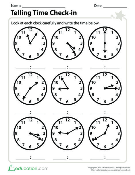 Second Grade Math Worksheets: Telling Time Check-in