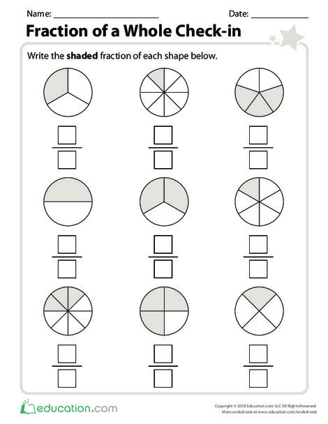 Second Grade Math Worksheets: Fraction of a Whole Check-in