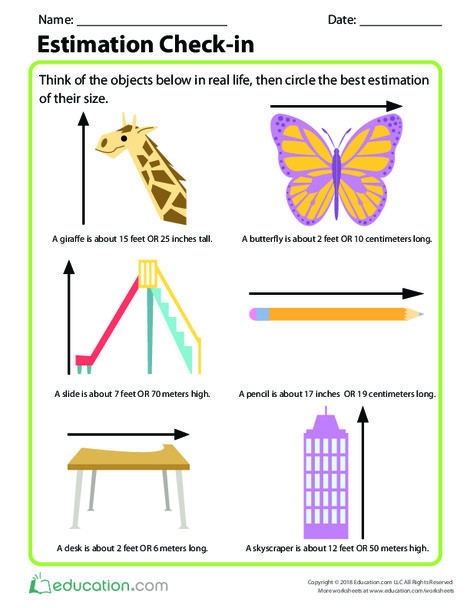 Second Grade Math Worksheets: Estimation Check-in