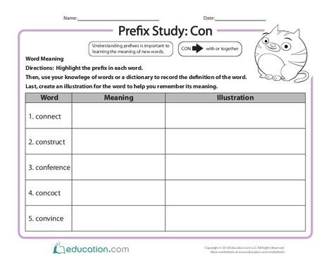 Third Grade Reading & Writing Worksheets: Prefix Study: Con