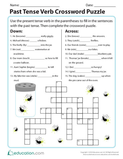 Second Grade Reading & Writing Worksheets: Past Tense Verb Crossword Puzzle