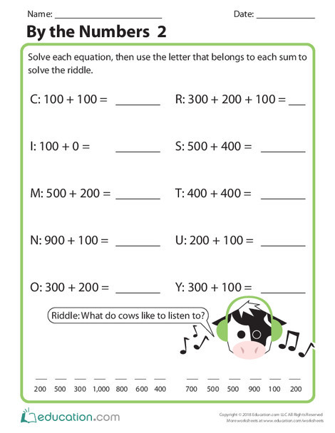Second Grade Math Worksheets: By the Numbers 2