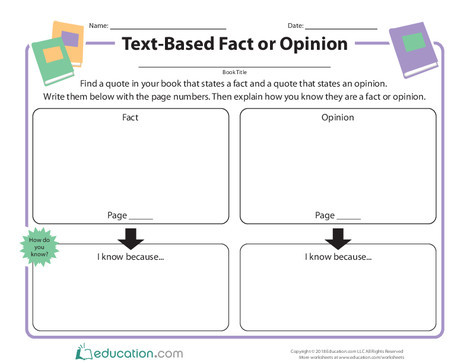 Second Grade Reading & Writing Worksheets: Text-Based Fact or Opinion