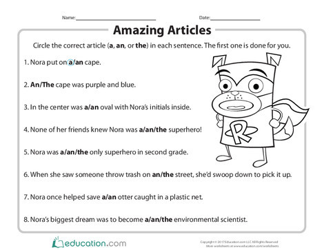 Second Grade Reading & Writing Worksheets: Amazing Articles