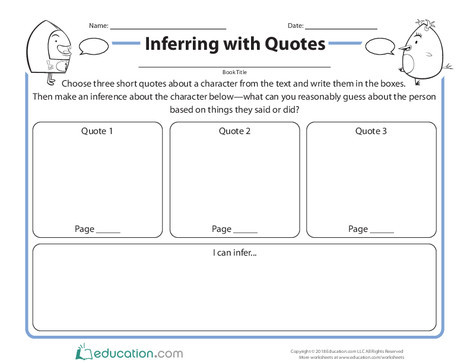 Second Grade Reading & Writing Worksheets: Inferring with Quotes