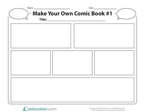 Second Grade Reading & Writing Worksheets: Make Your Own Comic Book #1