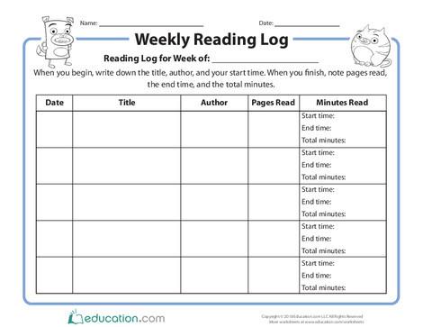 Second Grade Reading & Writing Worksheets: Weekly Reading Log