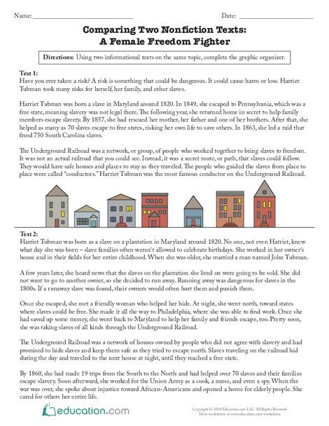 Third Grade Reading & Writing Worksheets: Comparing Two Nonfiction Texts: A Female Freedom Fighter