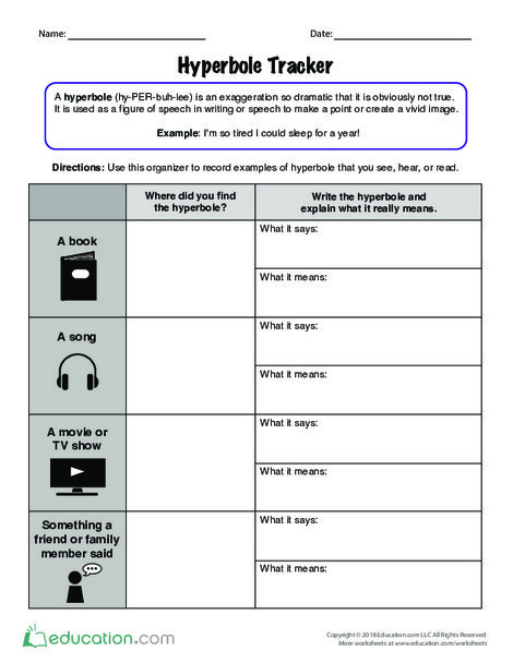 Fifth Grade Reading & Writing Worksheets: Hyperbole Tracker